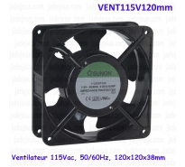 Ventilateur 115Vac, 50/60Hz, 120x120x38mm