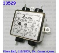 Filtre EMI, 115/250V, 5A, Cosses 6,4mm