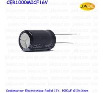 Condensateur Electrolytique Radial 16V, 1000uF Ø10x16mm