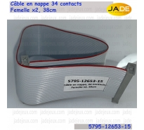 Câble en nappe 34 contacts, Femelle x2, 38cm