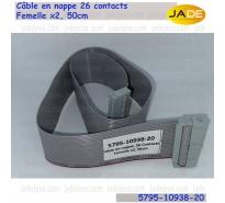 Câble en nappe, 5795-10938-20, 26 Contacts Femelle x2, 50cm